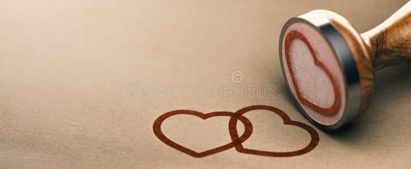 Liefde Achtergrondconcept, Valentijnskaartendag of de Kaart van de Huwelijksgebeurtenis royalty-vrije illustratie