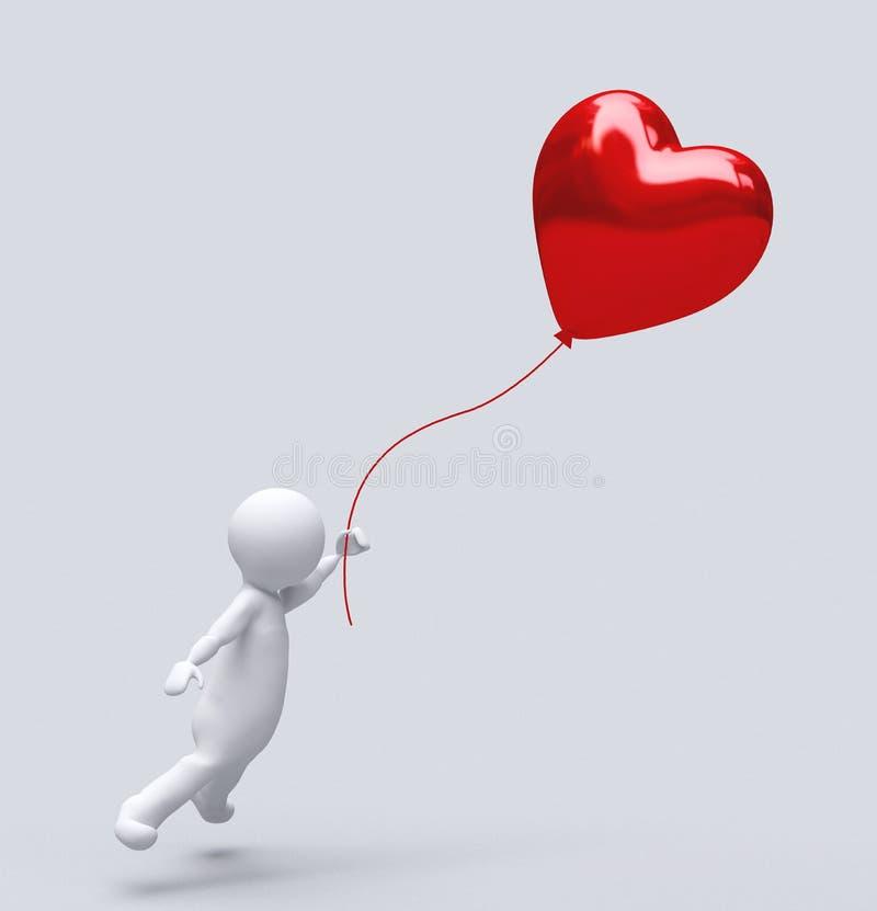 Liefde Baloon op wit, Impulshart wordt ge?soleerd dat: het rode concept van de valentijnskaartliefde, Valentijnskaartendag ısola royalty-vrije illustratie