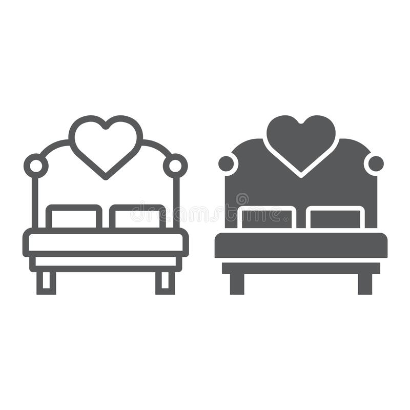 Liefde bed met hartlijn en glyph-pictogram, valentine en vakantie, bed-teken, vectorgrafiek, een lineair patroon op een wit stock afbeeldingen