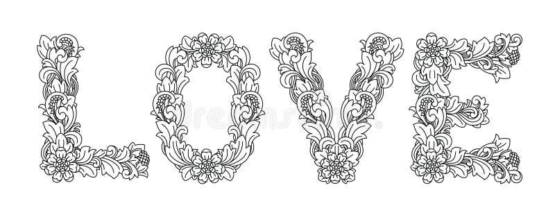 LIEFDE, bloemenontwerp Ornament dat op Balinees art. wordt gebaseerd vector illustratie