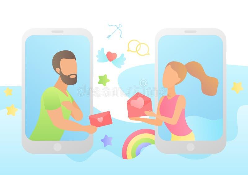 Liefde in boodschapper Jong gelukkig paarconcept Het verbinden, het samenkomen, onmiddellijk overseinen en het leveren van gevoel vector illustratie