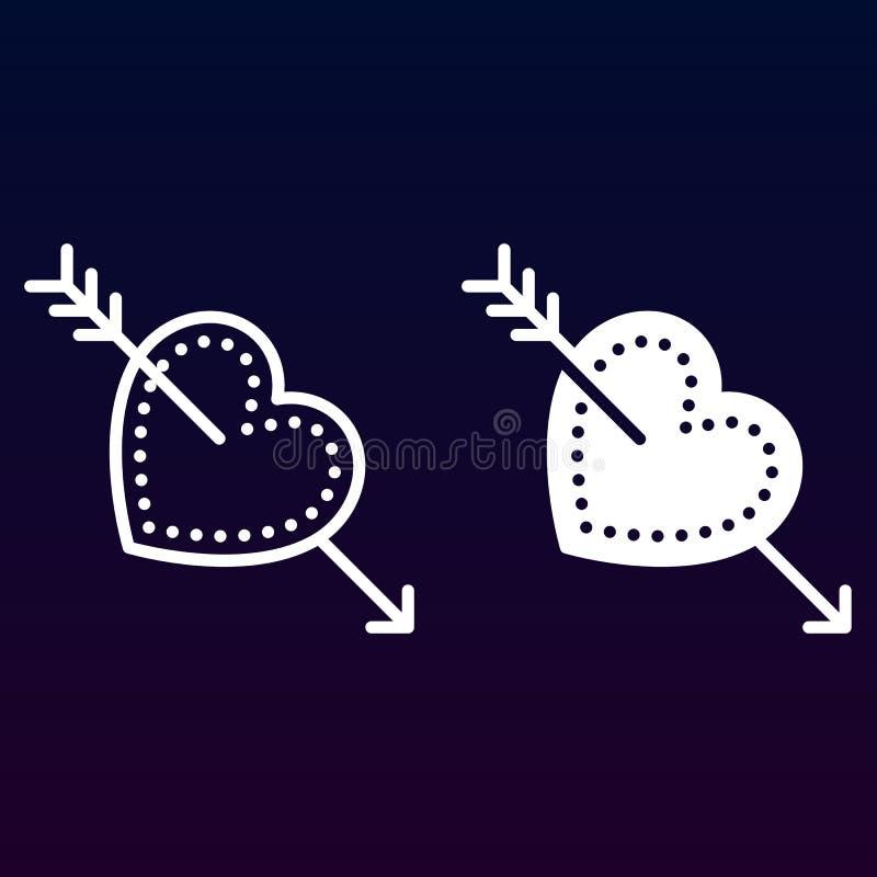 Liefde, Cupidopijl in hartlijn en stevig pictogram, overzicht en gevuld vectorteken, lineair en volledig die pictogram op wit wor stock illustratie