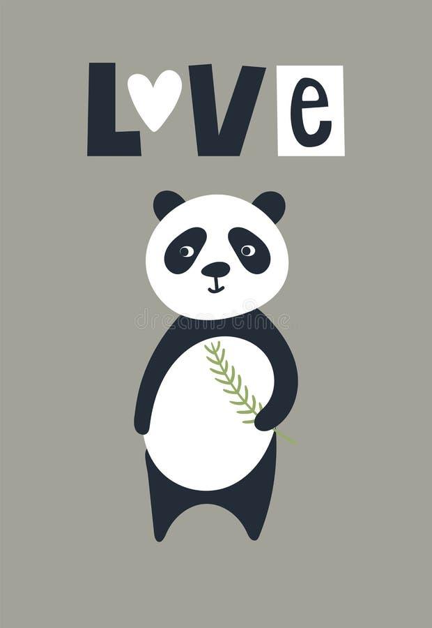 Liefde - de Leuke affiche van het jonge geitjeshand getrokken kinderdagverblijf met panda draagt dier en het van letters voorzien vector illustratie