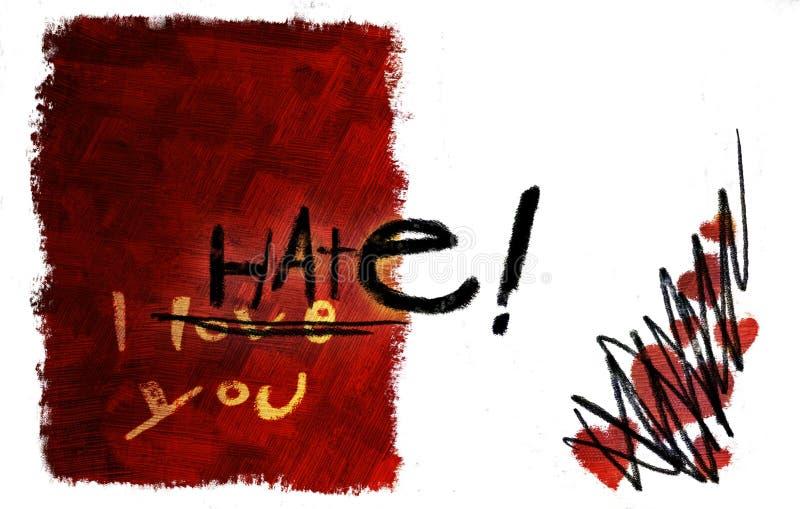 Liefde die aan haatkaart draait royalty-vrije stock afbeelding
