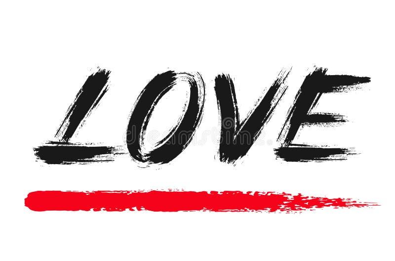 Liefde die Grunge-Word van Borstelslagen van letters voorzien stock illustratie