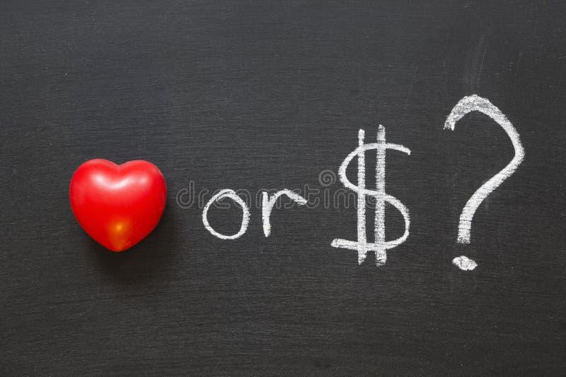 Liefde of dollars? royalty-vrije stock afbeeldingen