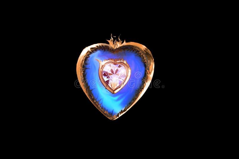 Liefde in een gevormd juweelhart royalty-vrije stock fotografie