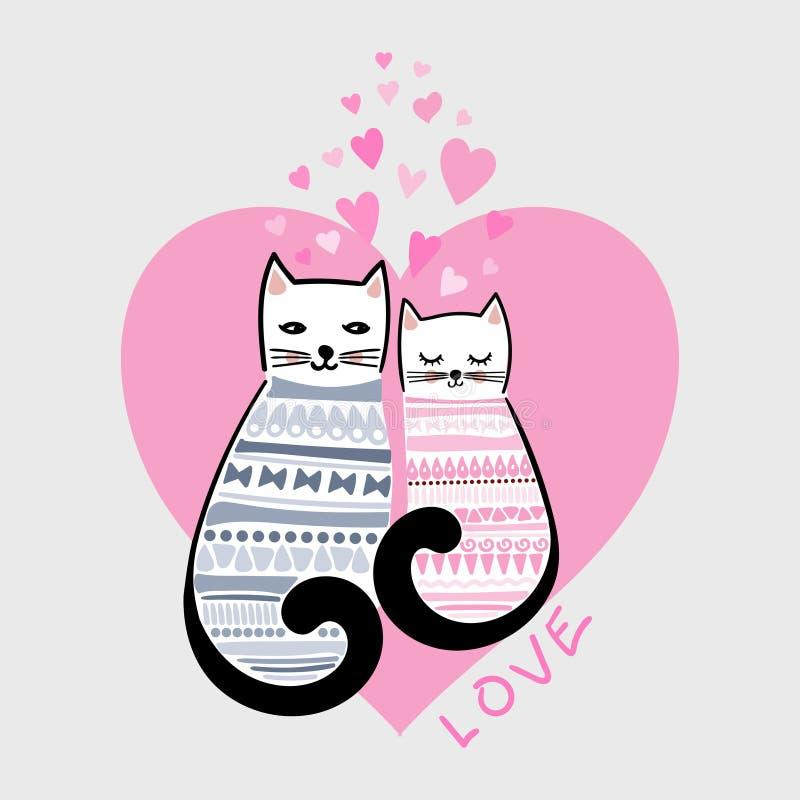 Liefde Een paar leuke, beeldverhaalkatten Vector royalty-vrije illustratie