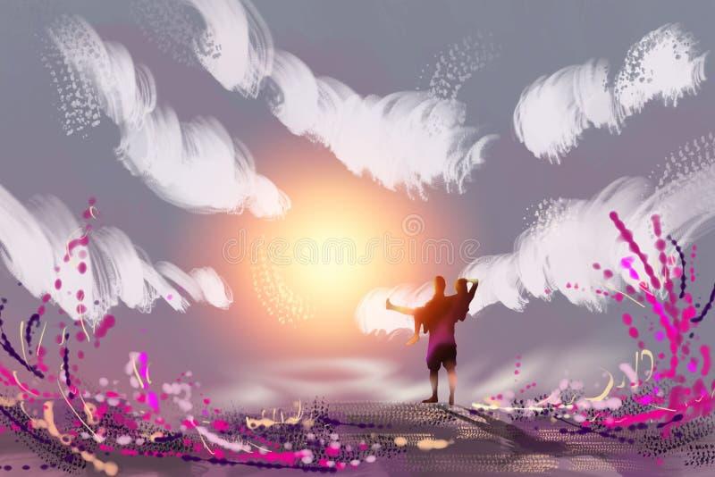 Liefde in een romantische ontsnapping royalty-vrije illustratie
