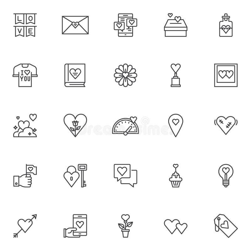 Liefde en de dag geplaatste overzichtspictogrammen van Valentine ` s stock illustratie