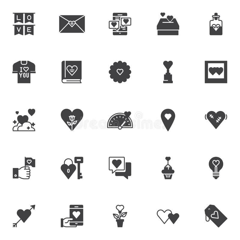 Liefde en de dag vector geplaatste pictogrammen van Valentine ` s royalty-vrije illustratie
