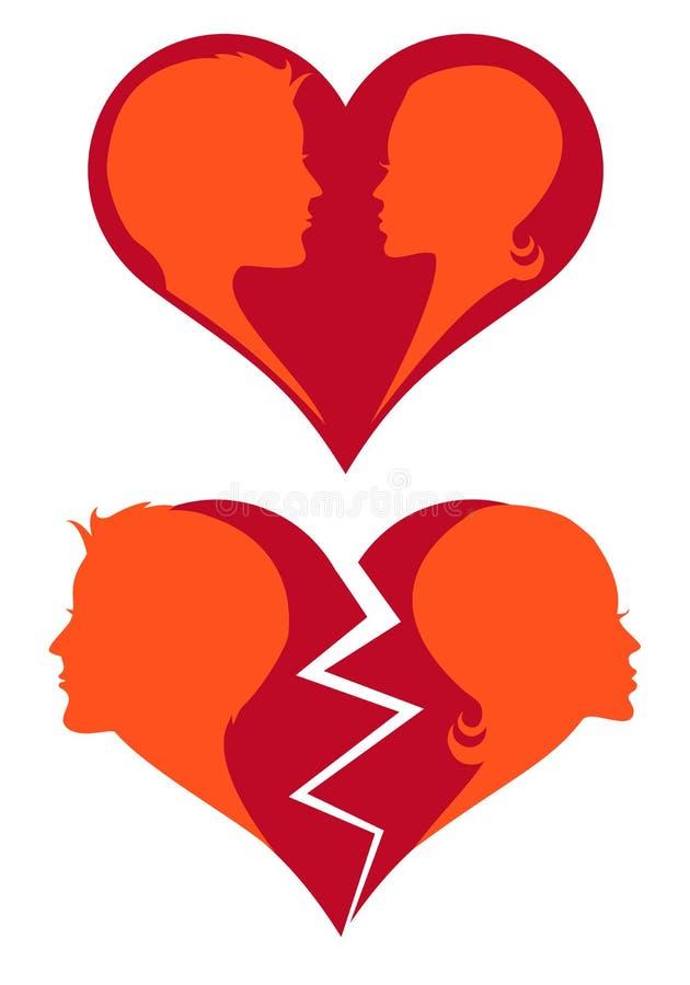 Liefde en gebroken hart,   vector illustratie