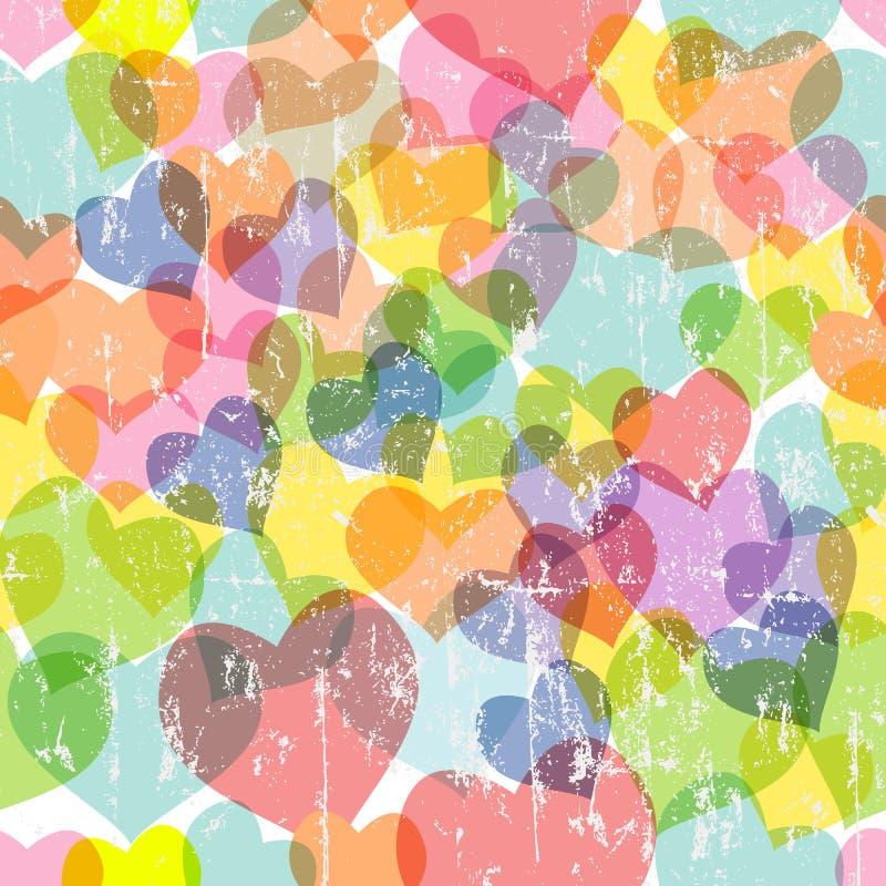 liefde en hart naadloos patroon, stock illustratie