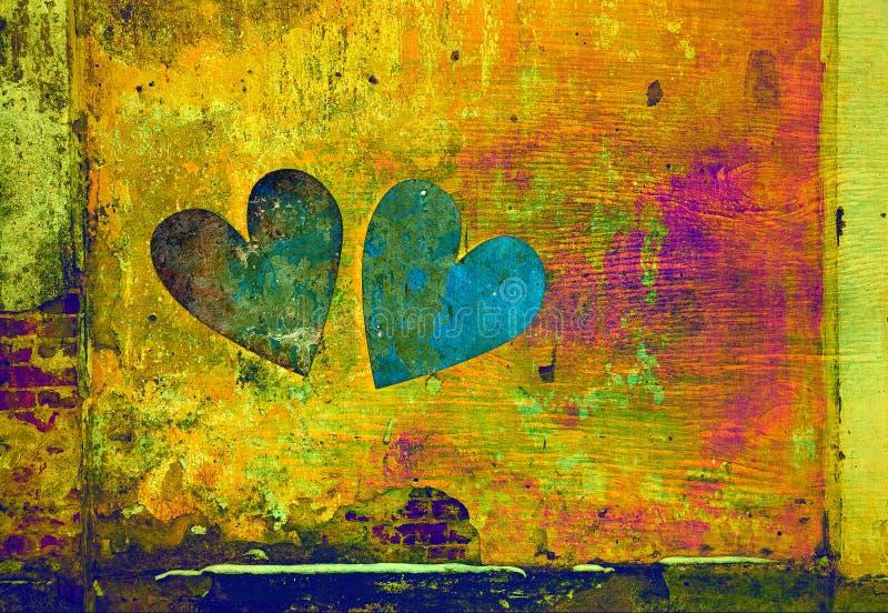 Liefde en Romaans twee harten in grungestijl op abstracte achtergrond royalty-vrije stock afbeelding