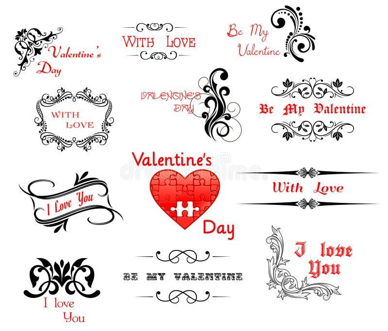 Liefde en Valentine'-Dag kalligrafische kopballen stock illustratie