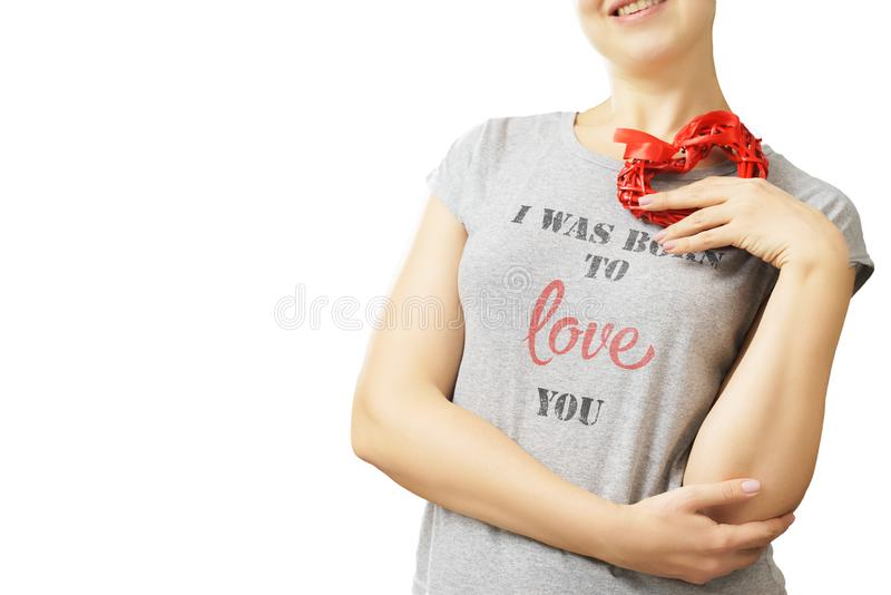 Liefde en van de valentijnskaartendag het hart van de vrouwenholding stock foto's