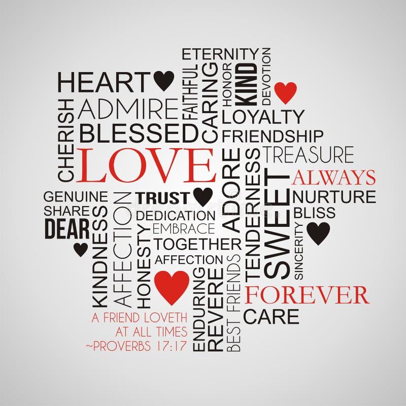 Liefde en Vriendschapsword Wolk royalty-vrije illustratie