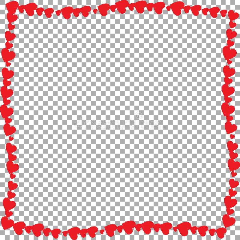 Liefde golvend die kader van beeldverhaal rode verschillende met maat harten wordt gemaakt royalty-vrije illustratie