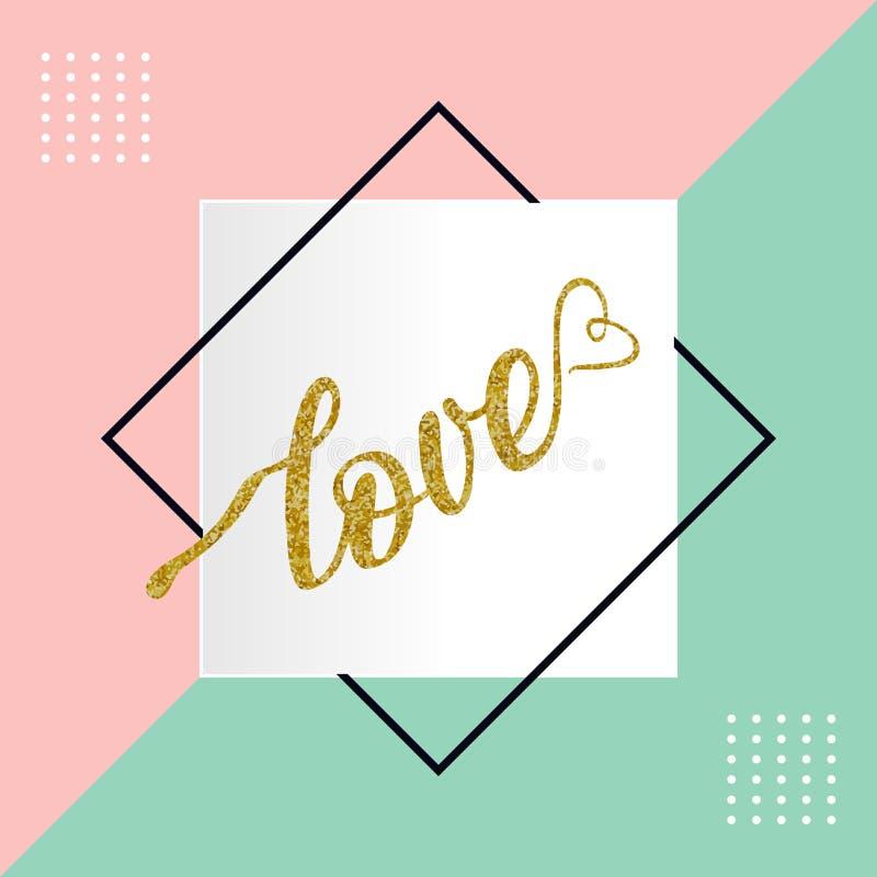 Liefde hand getrokken het van letters voorzien vector met kader op pastelkleur kleurrijke vector in als achtergrond stock illustratie