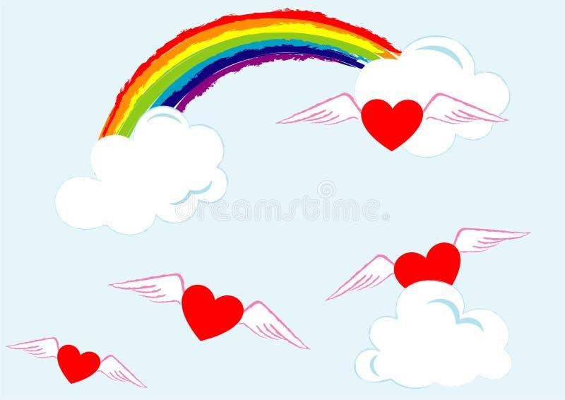 Liefde in hemel stock illustratie