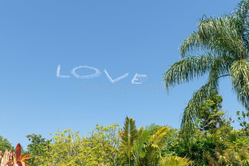 Liefde in hemel door een vliegtuig wordt gedaan dat royalty-vrije stock afbeeldingen