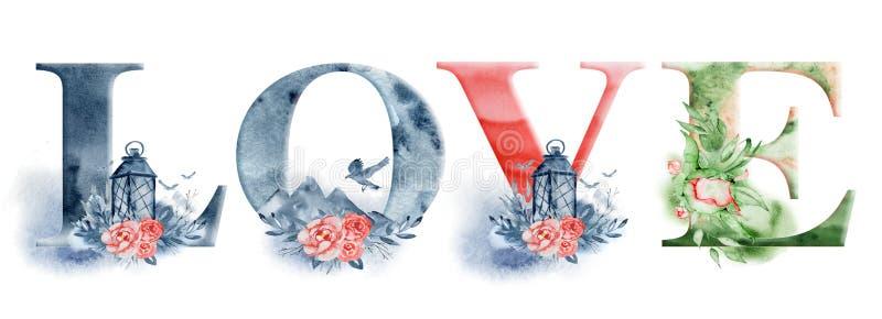 Liefde het van letters voorzien het woord van de tekenwaterverf ontwerpt met bloemenboeketten en kroon Hand getrokken typografiei stock illustratie