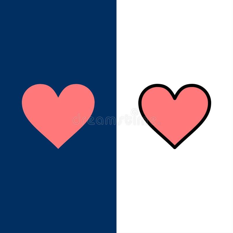 Liefde, Instagram, Interface, zoals Pictogrammen Vlak en Lijn vulde Pictogram Vastgestelde Vector Blauwe Achtergrond vector illustratie