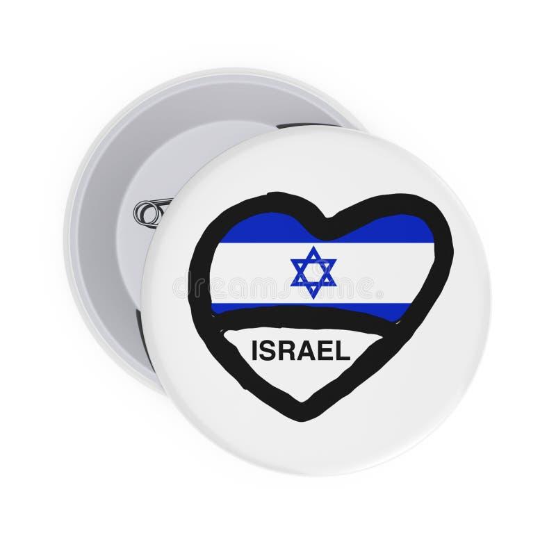 Liefde Israel Concept Wit Pin Badges met Hart, Israel Flag en Teken het 3d teruggeven stock illustratie