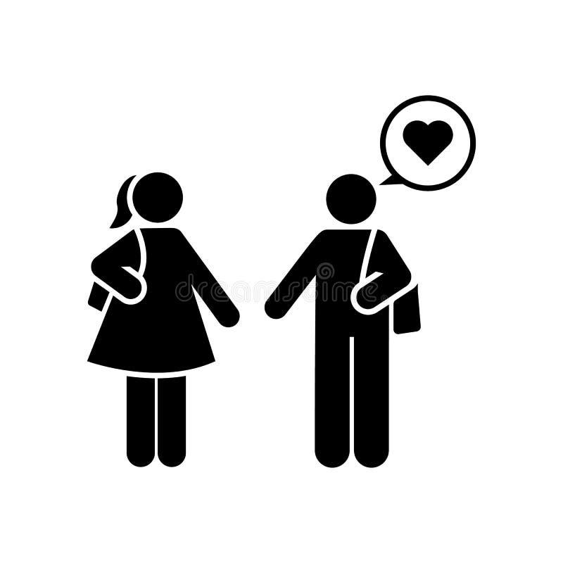 In liefde, man, vrouw, studentenpictogram Element van het pictogram van het onderwijspictogram Grafisch het ontwerppictogram van  stock illustratie