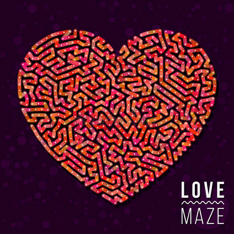 Liefde Maze Heart Shape Vector Element stock illustratie