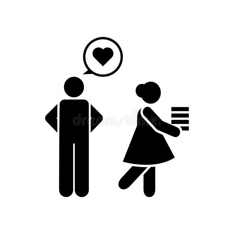 In liefde, meisje, mens, schoolpictogram Element van het pictogram van het onderwijspictogram Grafisch het ontwerppictogram van d royalty-vrije illustratie