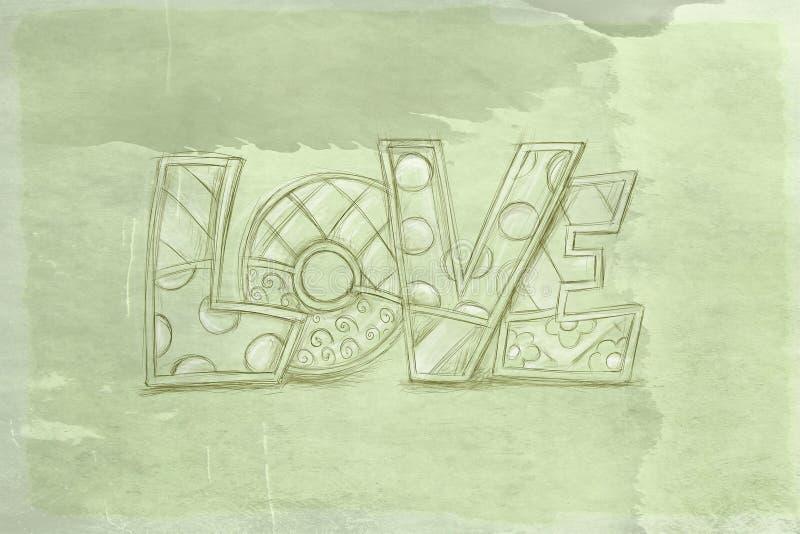 Liefde, met antieke basis stock illustratie