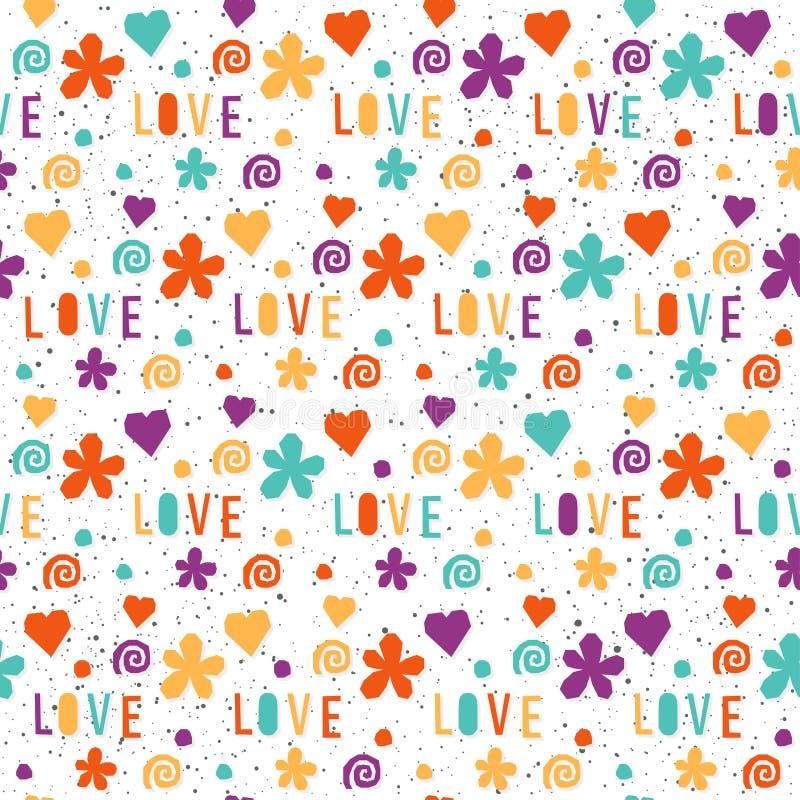 Liefde Met de hand gemaakte brieven en geometrisch hoekig elementen naadloos patroon royalty-vrije illustratie
