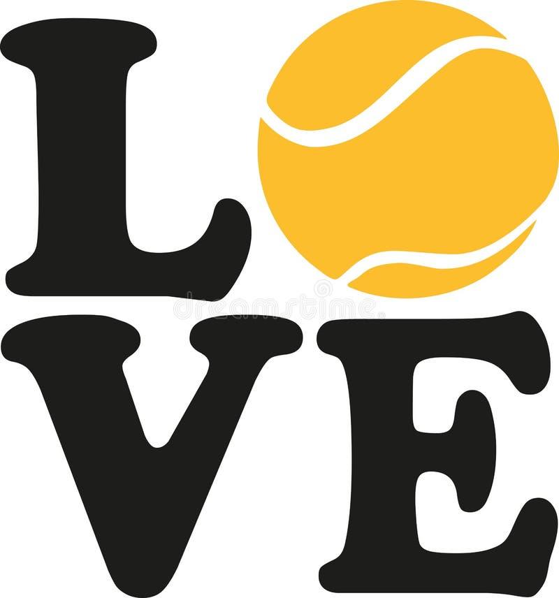 Liefde met een tennisbal royalty-vrije illustratie