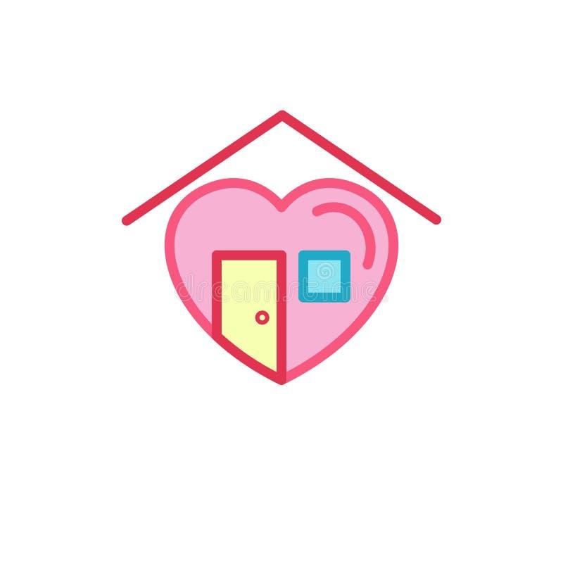 Liefde met huisdeur, venster en dakpictogram Eenvoudige de Lijnstijl Logo Template Design van de Hartillustratie royalty-vrije illustratie