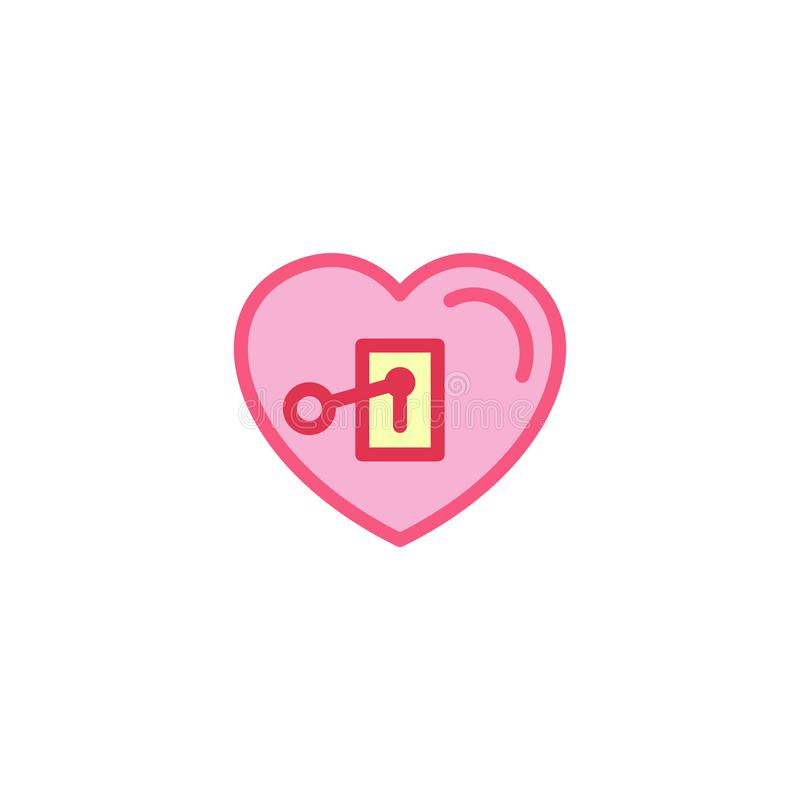 Liefde met sleutel in Pictogram wordt gestopt dat Eenvoudige de Lijnstijl Logo Template Design van de Hartillustratie stock illustratie