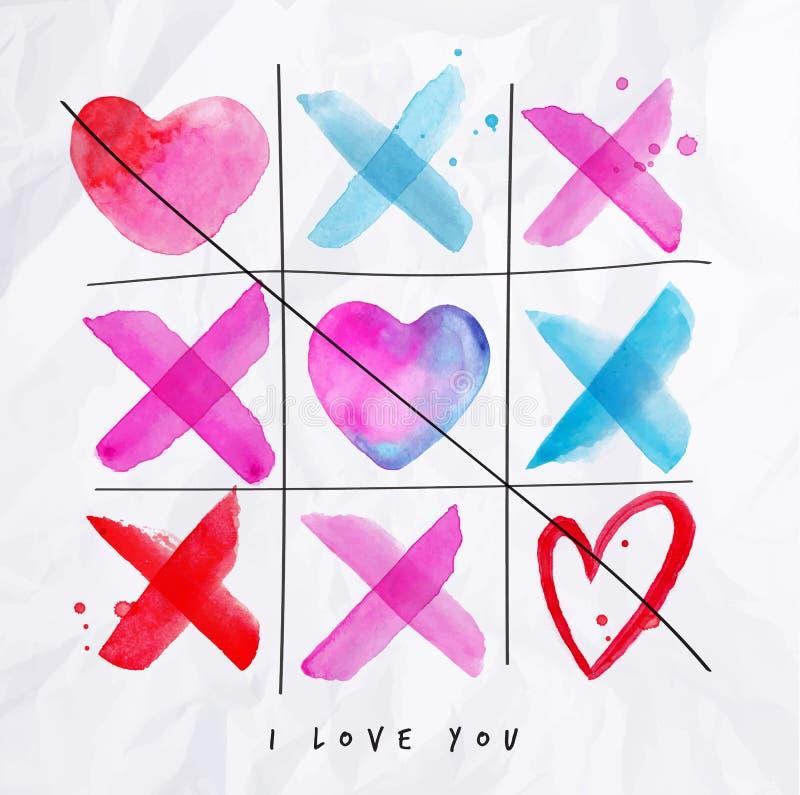 Liefde noughts en kruisenspel vector illustratie