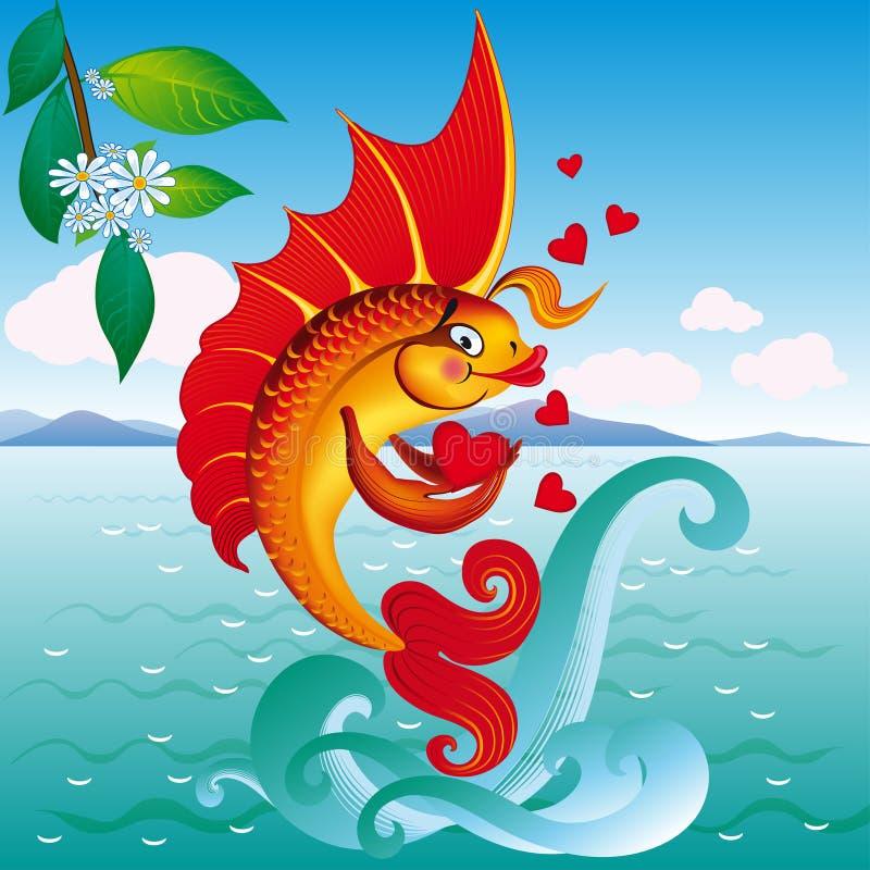 Liefde oranje goudvis op een golf stock illustratie
