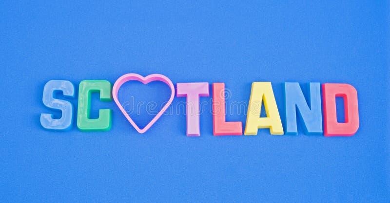 Liefde Schotland: toeristen embleem. royalty-vrije stock fotografie