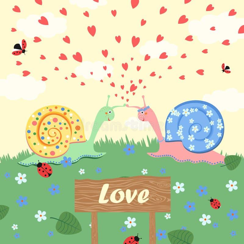 Liefde Slakken in Liefde stock illustratie