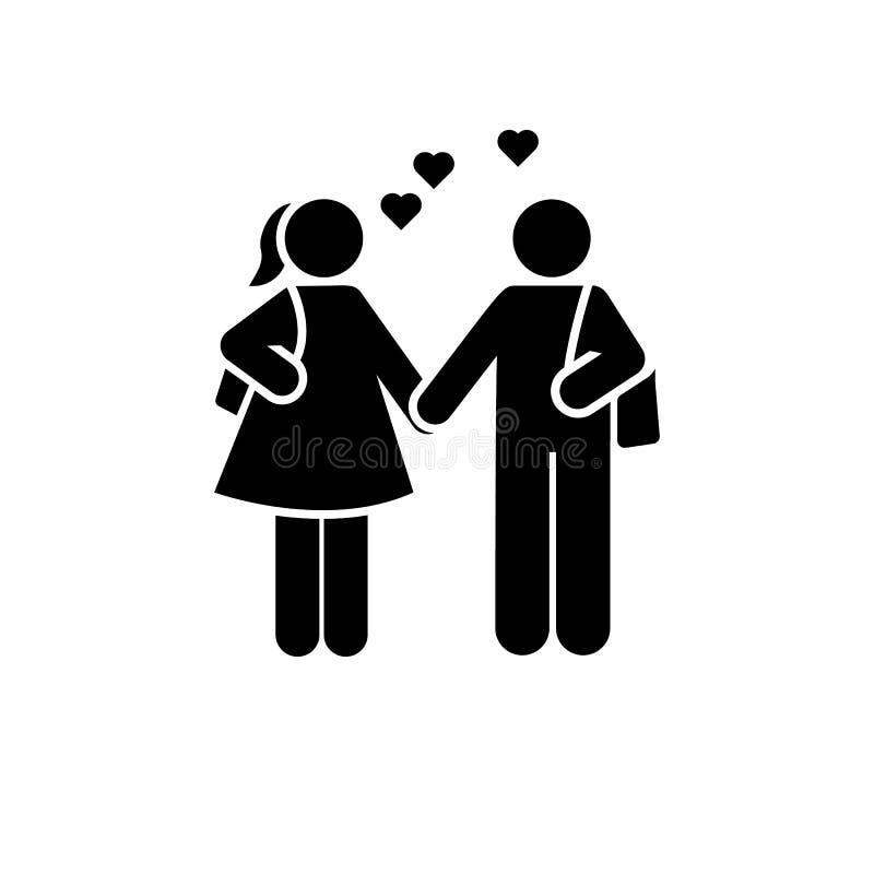 In liefde, student, meisje, mensenpictogram Element van het pictogram van het onderwijspictogram Grafisch het ontwerppictogram va stock illustratie