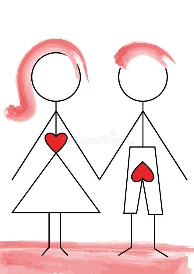 Liefde tegenover seksualiteit royalty-vrije illustratie