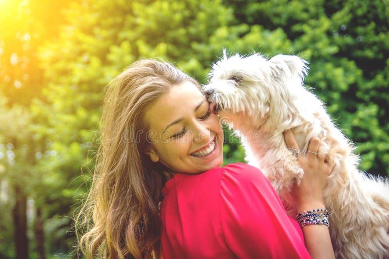 Liefde tussen mens en hond stock afbeeldingen