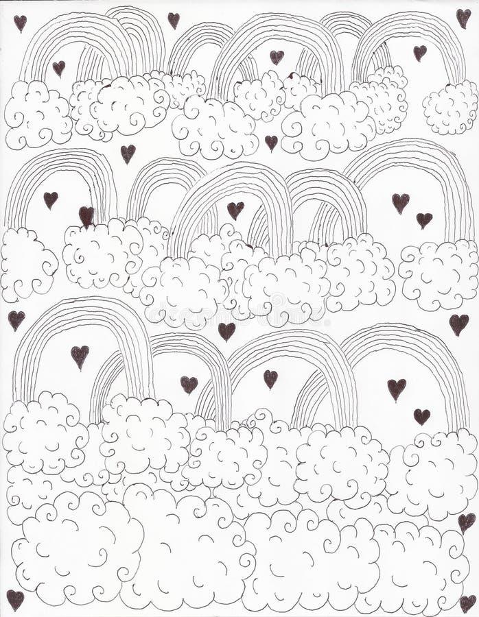 Liefde tussen regenbogen en wolken stock illustratie