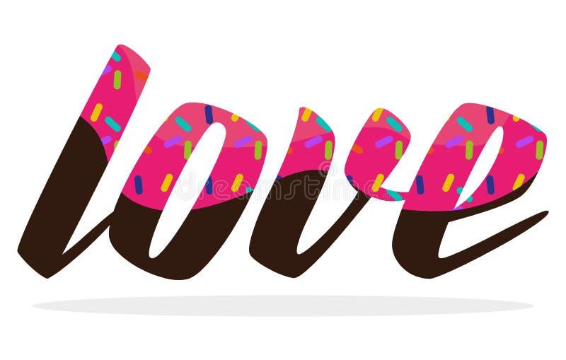 Liefde, Typografisch Suikergoed vector illustratie
