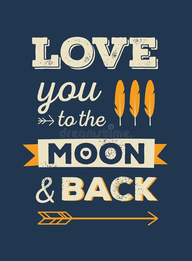 Liefde u aan de maan en de rug vector illustratie