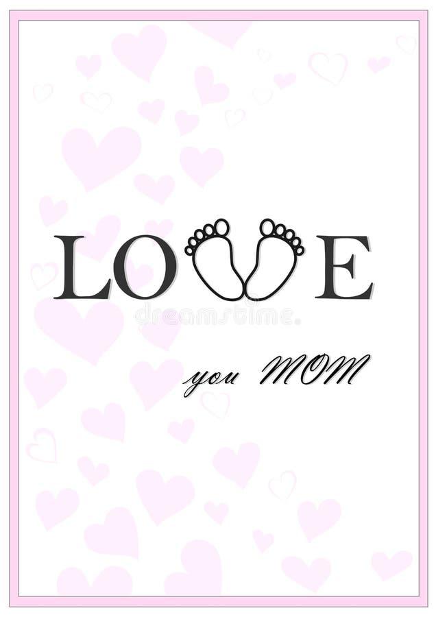 Liefde u de kaartvector van de mamma verticale roze groet vector illustratie