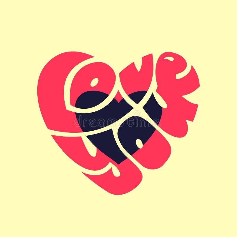 Liefde u Het beeld van het typografiewoord als hartbeeld De hand voorzag grafische illustratie, omslagtekst binnen een vorm, silh stock illustratie