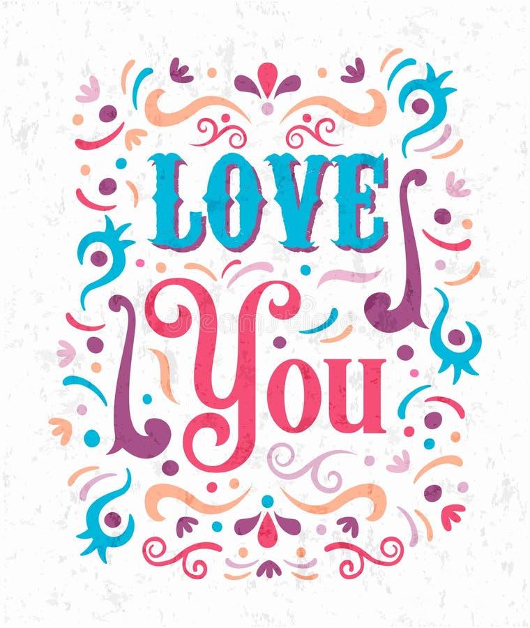 Liefde u het romantische het van letters voorzien concept van het tekstcitaat royalty-vrije illustratie