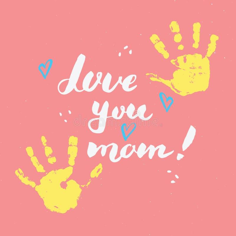 Liefde u, mamma! Schildert het kalligrafie met de hand geschreven van letters voorziende teken, kaart van de Moederdag de Hand ge stock illustratie